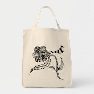 Beautiful Hand Drawn Flower Tote Bag