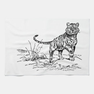 Beautiful Hand Drawn Lineart of Tiger Outside Towels