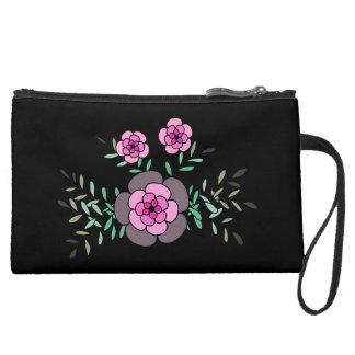 Beautiful hand drawn pink flowers suede wristlet wallet