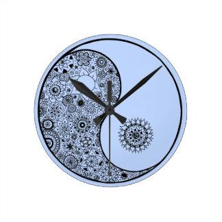 Beautiful Hand Illustrated Artsy Floral Yin Yang Round Clock