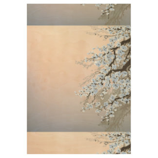 beautiful,hand painted,pale blue,cherry blossom tr wood poster