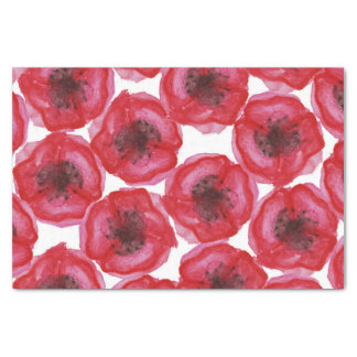 """Beautiful Hand Painted Watercolor Poppy Flowers 10"""" X 15"""" Tissue Paper"""