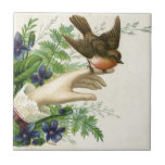 Beautiful hand with a bird and flowers azulejos cerámicos