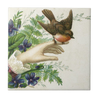 Beautiful hand with A bird and flowers Tile