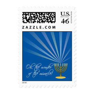 Beautiful Hanukkah Menorah and Light Rays on Blue Postage