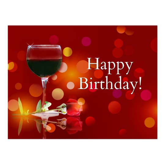 Beautiful Happy Birthday Wine And Rose Postcard