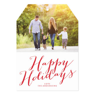 Beautiful Happy Holidays Lettering Tag Photo Card