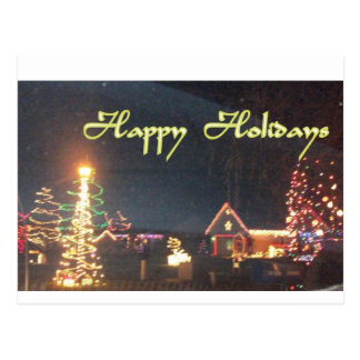 Beautiful Happy Holidays Night Scenery Postcard