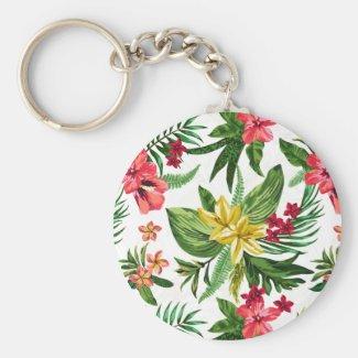 Beautiful Hawaiian Flowers Basic Round Button Keychain