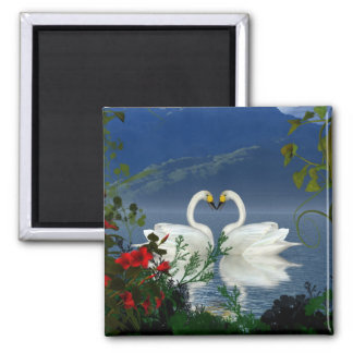 Beautiful heart swans red flowers 1 2 inch square magnet
