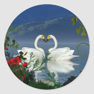 Beautiful heart swans red flowers 1 classic round sticker
