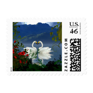 Beautiful heart swans red flowers 1 stamps