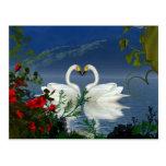 Beautiful heart swans red flowers 1 postcard
