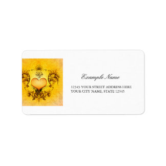 Beautiful heart with floral elements label