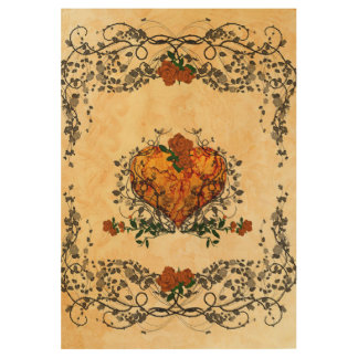 Beautiful heart with red roses and leaves wood poster