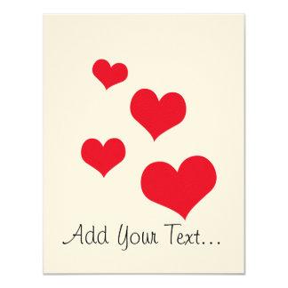 Beautiful hearts 4.25x5.5 paper invitation card