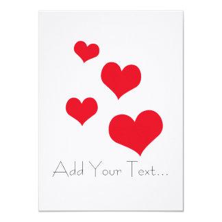 Beautiful hearts 4.5x6.25 paper invitation card