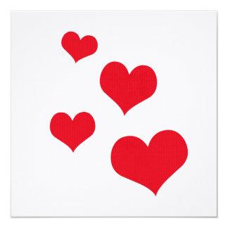 "Beautiful hearts 5.25"" square invitation card"