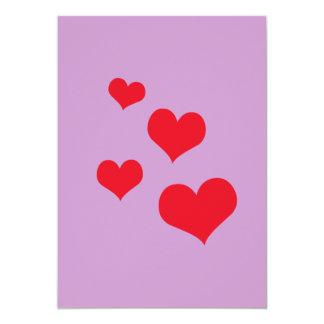 Beautiful hearts 5x7 paper invitation card