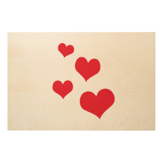 Beautiful hearts wood print