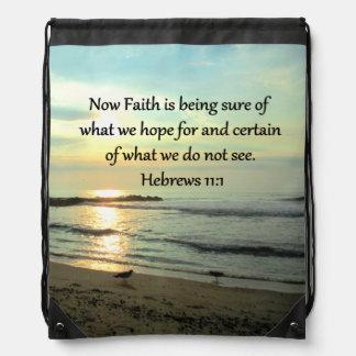 BEAUTIFUL HEBREWS 11:1 SUNRISE DRAWSTRING BACKPACK