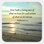 BEAUTIFUL HEBREWS 11:1 SUNRISE SQUARE STICKER