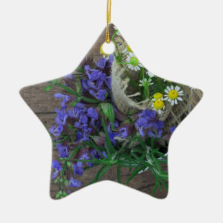 beautiful herbal background Double-Sided star ceramic christmas ornament