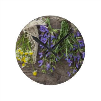 beautiful herbal background round clock