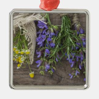 beautiful herbal background square metal christmas ornament