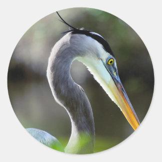 Beautiful Heron Classic Round Sticker