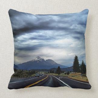 Beautiful highway scenery throw pillows