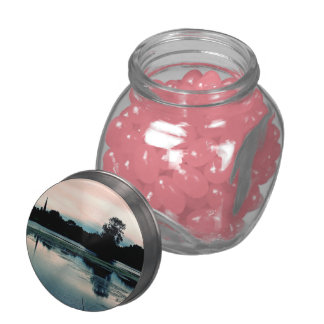 Beautiful Hillsborough Lake Reflection Glass Candy Jar