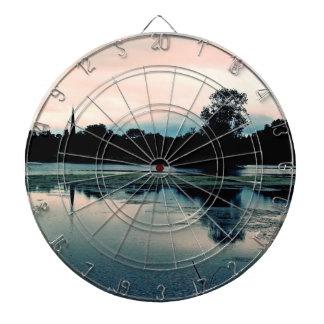 Beautiful Hillsborough Lake Reflection Dartboard With Darts