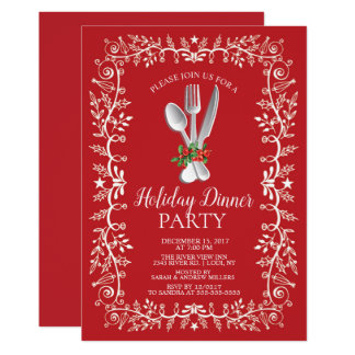 Beautiful Holiday Christmas Dinner Invitation