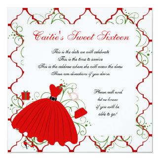 Beautiful Holiday Dress Dress 5.25x5.25 Square Paper Invitation Card