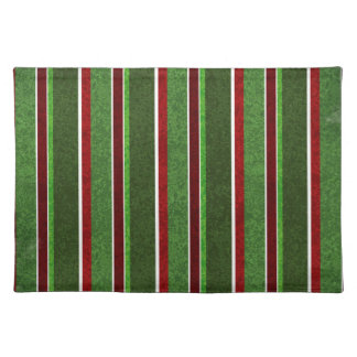 Beautiful Holiday Red and Green Stripe Pattern Cloth Placemat