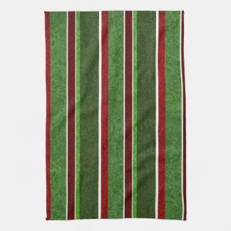 Beautiful Holiday Red and Green Stripe Pattern Towel