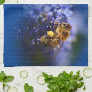 Beautiful Honeybee on the California Lilac Towel