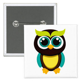 BEAUTIFUL HOOT OWL SQUARE BUTTON