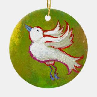 Beautiful hopeful inspirational white bird fun art christmas tree ornament