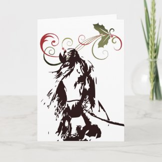Beautiful Horse and Holly Winter Holiday Christmas Card