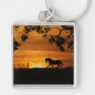 Beautiful Horse and Sunset Key Ring Silver-Colored Square Keychain