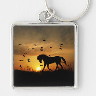 Beautiful Horse Art Key Ring Silver-Colored Square Keychain