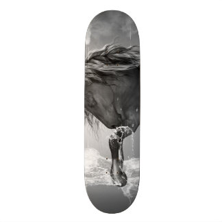 Beautiful horse drinking water skateboard