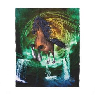 Beautiful horse fleece blanket