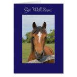 Beautiful horse head get well soon greeting card