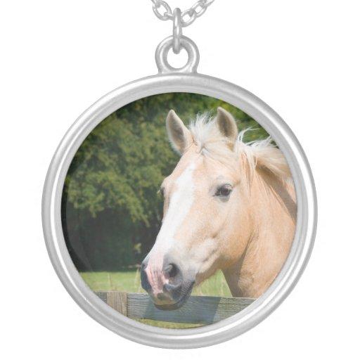 Beautiful horse head palamino photo necklace