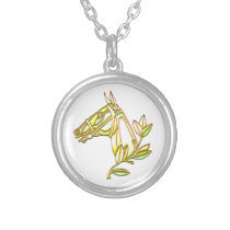 Beautiful Horse Head Portrait Silver Plated Necklace