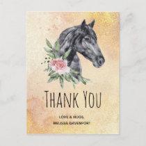 Beautiful Horse Head Portrait Watercolor Thank You Postcard