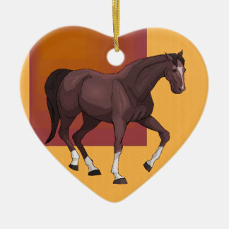 Beautiful Horse in Stable Heart Shaped Ornament
